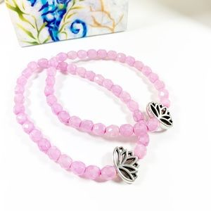 Pink Czech Glass Beads with Lotus Flower Bracelet